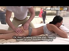 Hot Vicky Love fucks the masseur while her husband's waiting outside