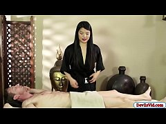 Horny asian masseuse gives her costumer an amazing blowjob