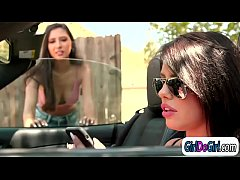 Adriana Chechiks car broke down and lucky for her two of her fans are there for the rescue.They are really hot so when they ask her to come in and have sex she doesnt think twice.She watches them fooling around and joins in for a threesome pussy lick