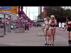 European blonde slaves humiliated and disgraced in public street
