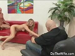 Blonde wife takes fat dick in front of husband