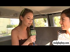 Babe pursuaded to fuck dildo in the van for some money