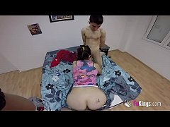 Young girl has her first threesome with Jordi a...