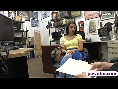 Amateur brunette babe in yellow top gets her pussy nailed by horny pawn man in his pawnshop