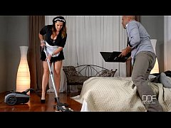 French maid gets caught and titty fucked