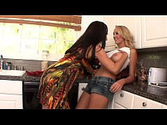 Stunning milf India Summer with raven-black hair shows cute blonde bombshell Brett Rossi some dirty tricks