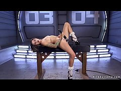 Pretty tattooed brunette teen Missy Minks with small tits in white socks and high heels sandals spreads legs and fucks machine