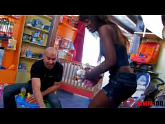 Amazing perfect Black babe fucked in a shop, in her ass and pussy