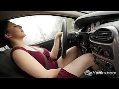 Tempting amateur brunette babe from Yanks Jenny Mace masturbating her slit while driving