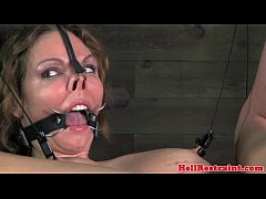 Mouth gagged bitch being caned