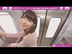 VRBangers.com-Sexy Japanese teen first time getting fucked hard on a train