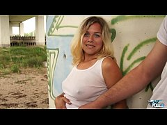 Busty naive blonde fucked by stranger under the bridge