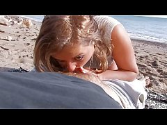 Precious, innocent-looking blonde angel gets naked and gets down to business as she sucks cock on the shore.