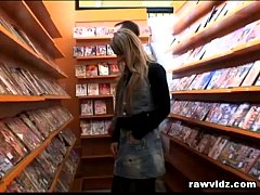 Blonde Slut Gets Load Of Cum Facial At A Video Store