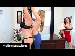 Curvy Professor Maggie Green & her School Headmaster Ms. Sara Jay, give a lesson in pussy licking love to their misbehaving student, Kimber Lee! Crazy threesome! See all 3 of these scholastic achievers live at VNALive.com!