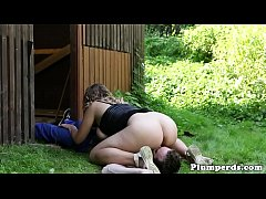 Gorgeous chubby beauty queening outdoors