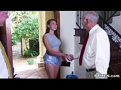 Busty Student Ivy Rose visited us to suck and fuck some old dick.