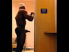 XXL Hung Black Muscle Dude Naked & Jerking Off In Office