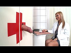 Cock Craving Dr Jessy Brown Gets Cumshot Through Glory Hole