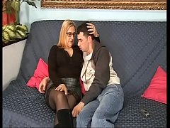 Hot and perverse mom comforts the cock of her sad son