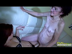 Old and young grandma lesbian fun with sex toys