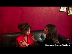 Submissive Ladies Deauxma & Ashley Renee have shiny red balls in their mouths & hands tied while they get off for each other!