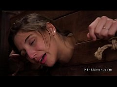 Brunette in bondage anal and deep throat fucked