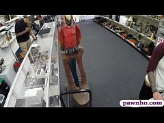 Tattooed brunette woman sells her stuff and gets her pussy pounded real good by pawn guy at the pawnshop