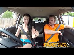 Fake Driving School Gamer babes pussy covered i...