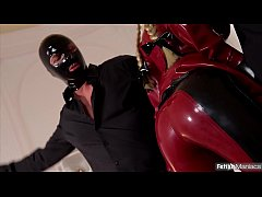 Fetish Maniacs Make Latex Lucy Squirt After Intense Double Blowjob Action