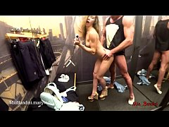PUBLIC DRESSING ROOM ANAL FUCK. Cumshot on mouth