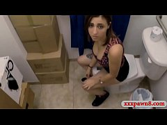 Lovely amateur babe kneeled down gives a blowjob then gets pounded in pawnshops comfort room