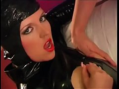 A sexy whore in a tight latex dress is fucked hard