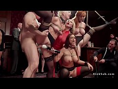 Blonde mistress made her slaves rough fuck at orgy bdsm party then vibrated their pussies