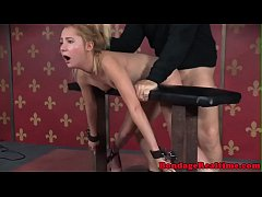 Straponfucked sub bent over by dom masters