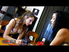 Two hot young sluts using and abusing their toyboy