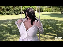 Busty Leanne Crow plays with her Monster Tits in the Garden