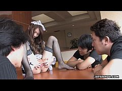 Asian boys order juicy from a provocative waitress