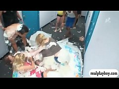 Horny dorm mates tag of war soaked in whipcream in inflatable pool then take a bath before having fun in the room