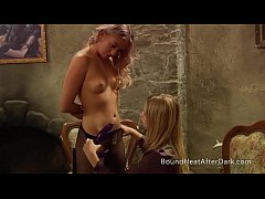 Naughty Mistress Plays With Slave's Strapon And Jerks It Hard