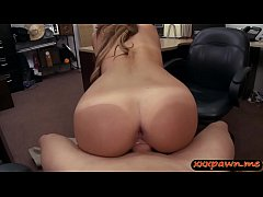 Skinny amateur blonde babe shows off her ass and rammed by horny pawn dude