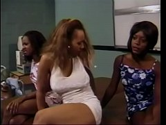 Three horny black couples fuck side by side on a table