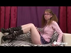 Ugly Teen In Pigtails & Glasses Fucks Her Hairy Hole Until She Cums