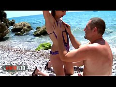 Cute young spanish teen slut hard fucking and squirting at the beach