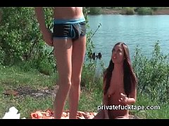 Naked outdoor amateurs