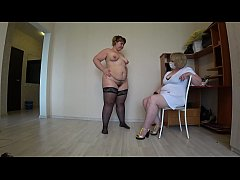 Thick lesbian at a reception at a mature doctor is looking for sexual pleasure, pov, fisting in hairy pussy.