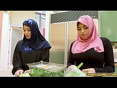 Ella Knoxx keeps her hijab on the whole time, but she wastes no time unleashing her big, pendulous breasts!