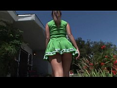 Luscious brunette cheerleader Jynx enjoys riding big hock and tasting hot cum in her mouth