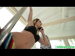 Blonde chick gets sideways pounding in bedroom