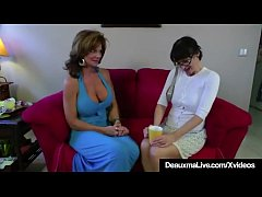 Busty Mature Milf Deauxma takes a big strapon cock inside her tight pussy by hazel eyed brunette Milf, Angie Noir that brings hot Deaxuma to a Pussy Juice Squirting Orgasm!